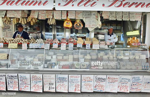 Caorle Veneto Italy May 2014 Saturday market day at the Caorle resort at the Adriatic sea coast Local cheese and salami Sellers offers their goods to...