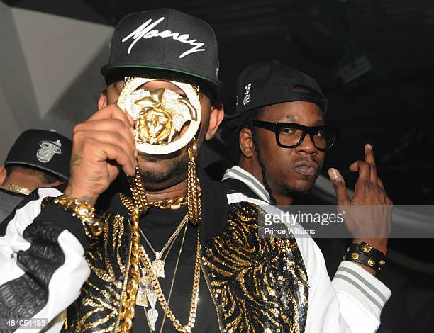 Cap 1 and 2 Chainz attend Dwyane Wade's Birthday Celebration at Velvet Room on January 19 2014 in Chamblee Georgia