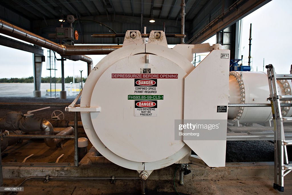 A cap covers a port used to insert pipeline cleaning and diagnostic 'pigs' at the termination point of the Flanagan South crude oil pipeline at the...