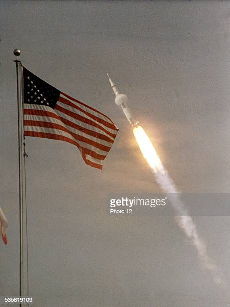 Cap Kennedy Launching of space shuttle Apollo II towards the Moon July 16 United States Conquest of Space NASA