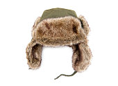 Furry cap isolated on the white background
