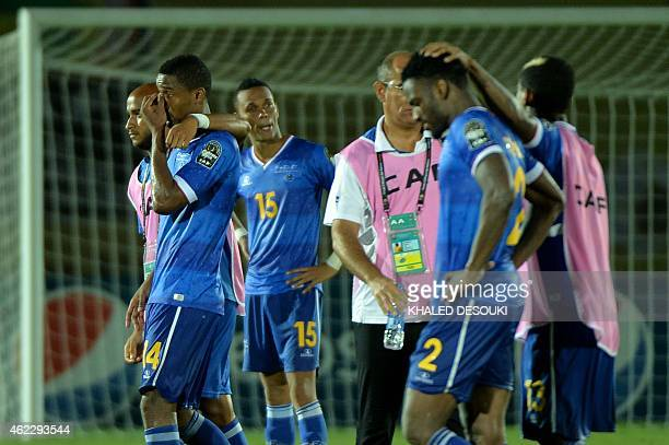 Cap Verde's players react at the end of the 2015 African Cup of Nations group B football match between Cap Verde and Zambia on January 26 2015 in...
