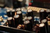 capacitors components closeup on a computer motherboard