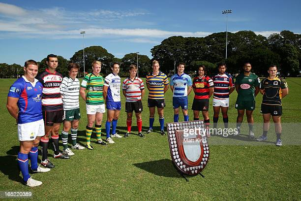 Capatains of the Shute Shield teams pose during the 2013 Shute Shield Season Launch at Moore Park on April 2 2013 in Sydney Australia