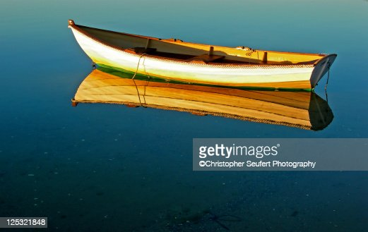 Cape Cod Row Boat and Ocean : Stock Photo