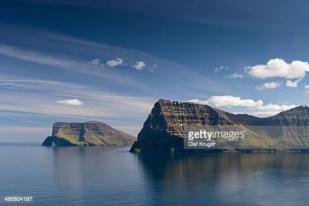 Cape Enniberg and the island of Vidoy, Kunoy, Norooyar, Faroe Islands, Denmark