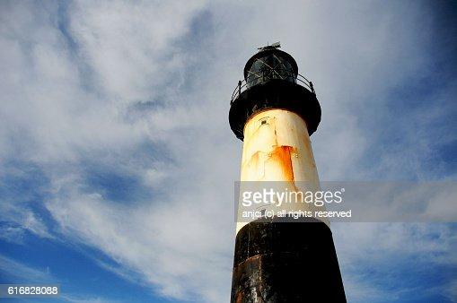 Cape Pembroke Lighthouse near Stanley / Falkland Islands : Stock Photo