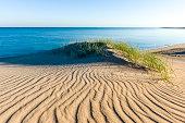Wind ripples a coastal desert sand dune above a calm blue sea.