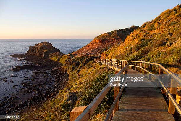 Cape Schanck boardwalk down to Pulpit Rock overlooking Bass Strait.