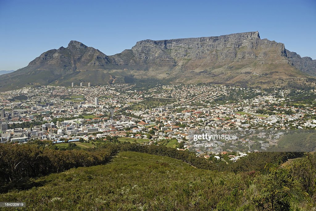 Cape town city and Table Mountain : Stock Photo