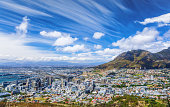 Cape Town city view, traveling to  South Africa, many houses on the seashore, beautiful urban panorama, high mountains, summer vacation concept