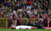 Cape Town South Africa 11 June 2016 Patrick Lambie of South Africa lies injured after a clash with CJ Stander of Ireland who was subsequently shown a...