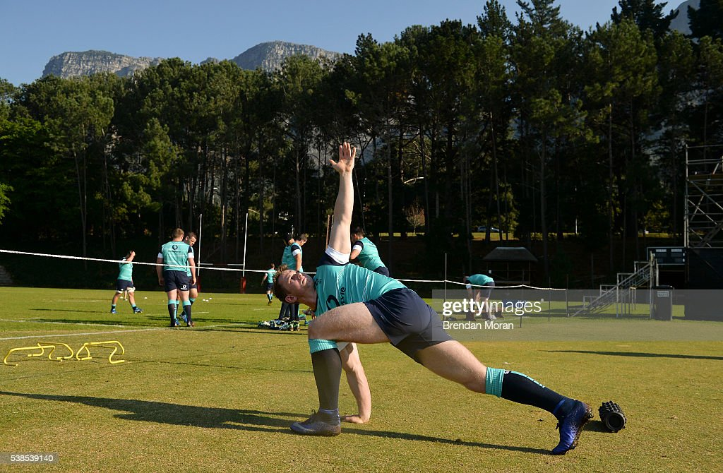 Cape Town South Africa 7 June 2016 Craig Gilroy of Ireland does some warmup exercises during squad training in Westerford High School Cape Town South...