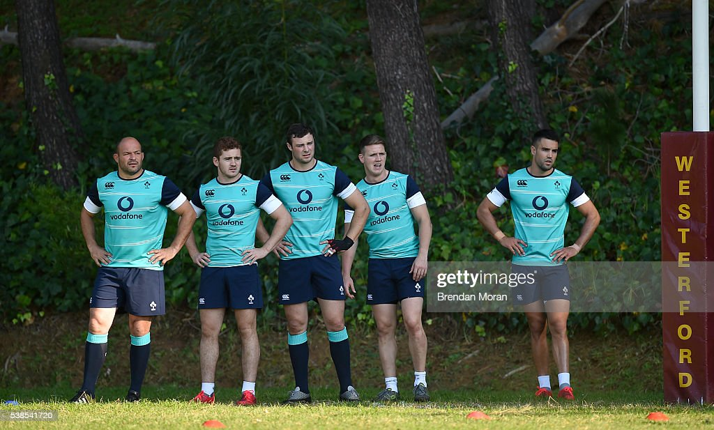 Cape Town South Africa 7 June 2016 Ireland players from left captain Rory Best Paddy Jackson Robbie Henshaw Craig Gilroy and Conor Murray during...