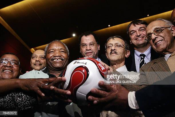 Danny Jordaan CEO of the 2010 FIFA World Cup South Africa Organising Committee FIFA deputy secretary general Jerome Champagne Robben Island former...