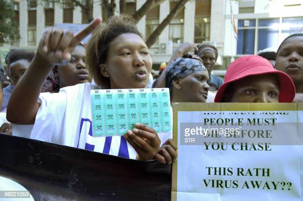 Member of TAC movement demonstrate 27 October 2005 in front of the Western Cape Health Headquarter in Cape Town South Africa Several hundred...