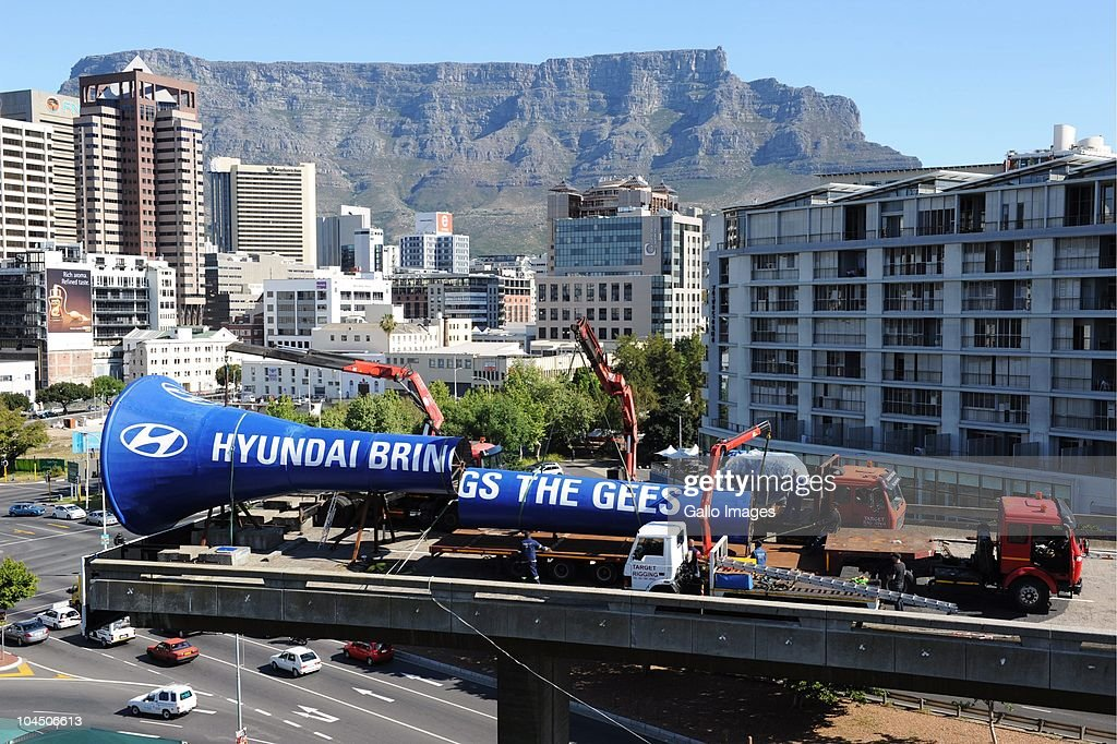 Cape Town's big blue vuvuzela is dismantled on September 27 2010 in Cape Town South Africa Hyundai constructed the world's largest operational...