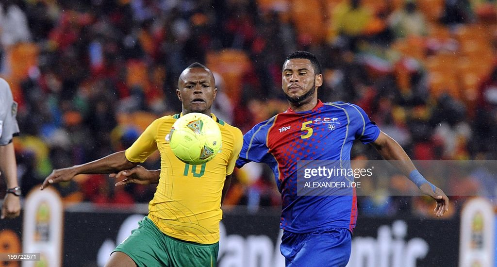 Cape Verde midfielder Babanco (R) and South Africa midfielder Thulani Serero fight for the ball on January 19, 2013 during a 2013 African Cup of Nation Group A football match at Soccer City in Soweto.