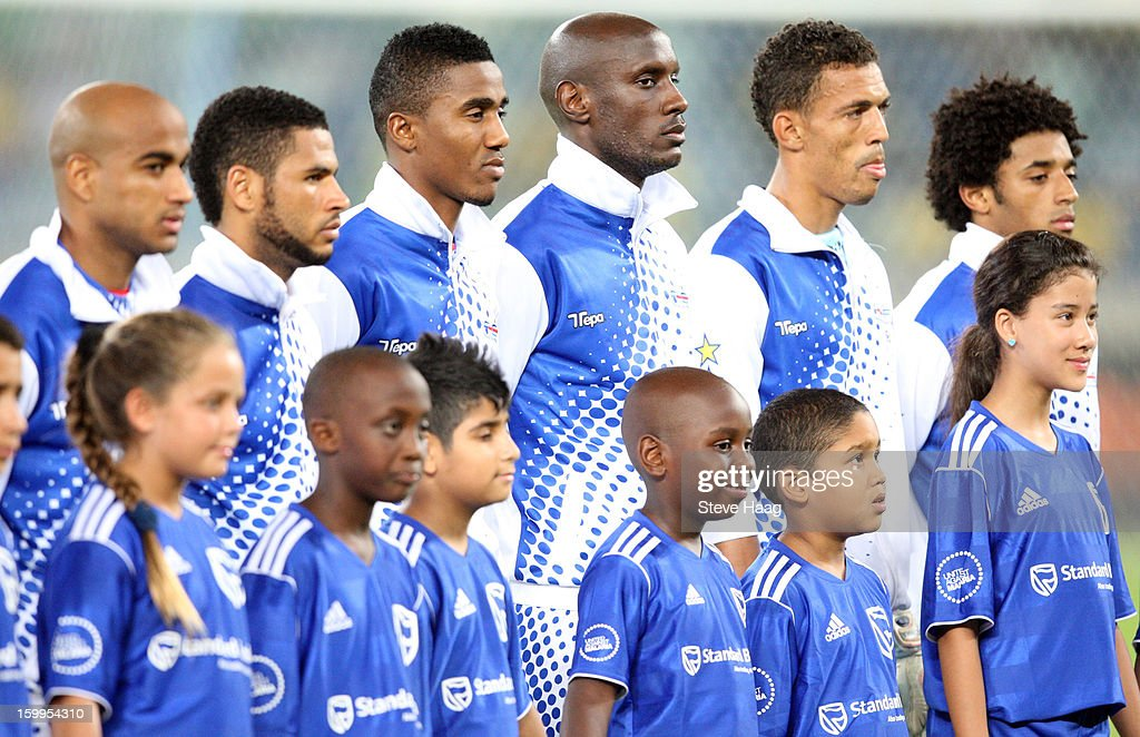 Cape Verde players line up during the 2013 African Cup of Nations match between Morocco and Cape Verde at Moses Mahbida Stadium on January 23, 2013 in Durban, South Africa.