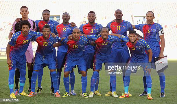 Cape Verde team line up during the 2013 Africa Cup of Nations QuarterFinal match between Ghana and Cape Verde at the Nelson Mandela Bay Stadium on...