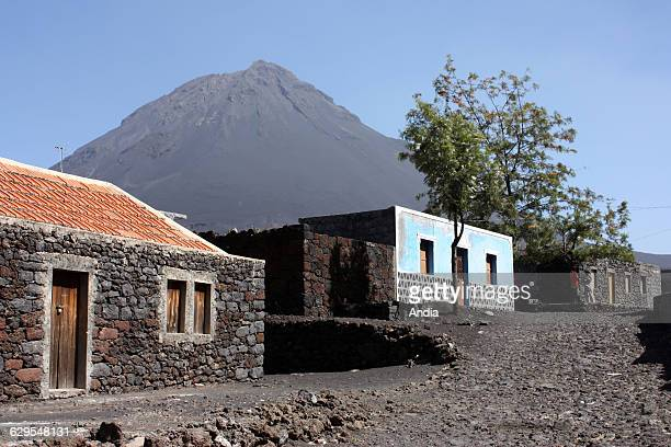 Cape Verde traditional houses built of volcanic rock in the village of Bangaeira at Cha das Caldeiras at the bottom of the 'Pico do Fogo' volcano on...