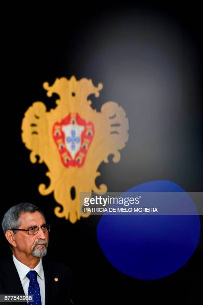 Cape Verdean President Jorge Carlos Fonseca attends a press conference with his Portuguese counterpart after their meeting at the Belem Palace in...