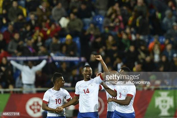 Cape Verde's defender Gege celebrates after scoring against Portugal during the EURO 2016 friendly football match Portugal vs Cape Verde at the...