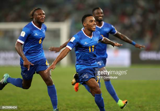 Cape Verde's Garry Rodrigues celebrates after scoring a goal during the 2018 World Cup Qualifiers match South Africa vs Cap Verde at the Moses...