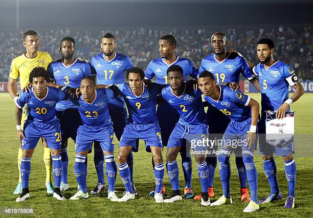 Cape Verde's players pose ahead of the 2015 African Cup of Nations Group B football match between Cape Verde and Congo at Nuevo stadium in Ebebiyin...