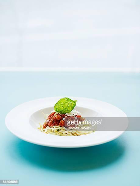 Capellini pomodoro with fresh tomato sauce, parmesan, basil.