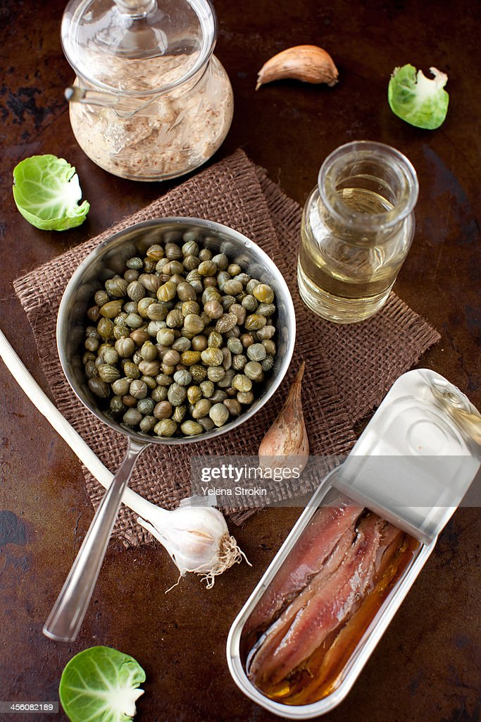 Capers, anchovies, garlic, oil