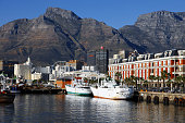 Capetown harbor views at sunset, South Africa