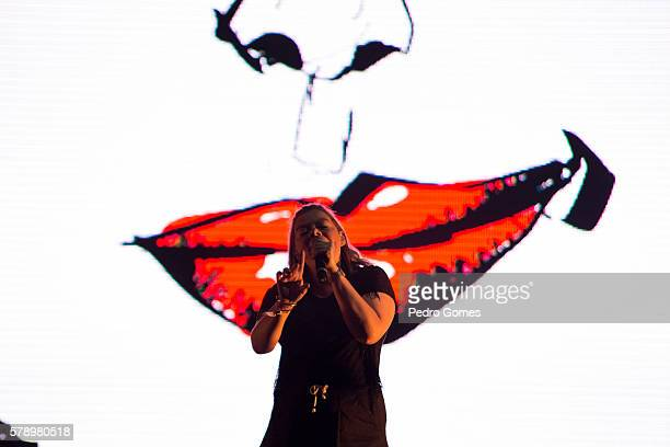 Capicua performs on the EDP stage at Super Bock Super Rock festival on July 16 2016 in Lisbon Portugal