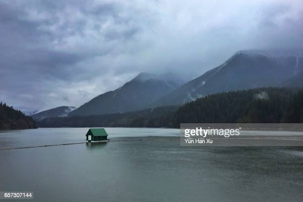 Capilano Lake and Surrounding Mountains on Cloudy Day