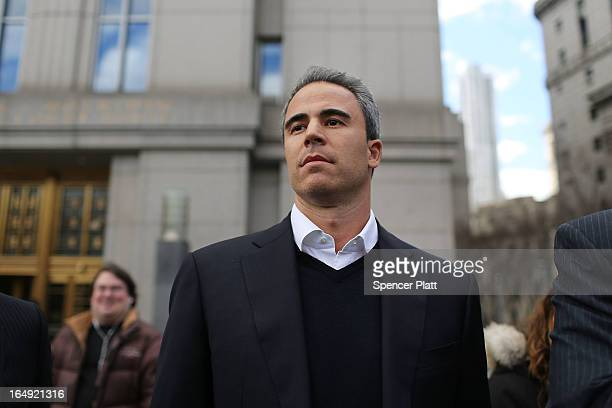Capital Advisors portfolio manager Michael Steinberg walks out of a New York courthouse after being charged by US prosecutors with engaging in...