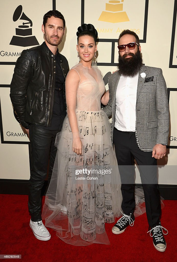Capital Cities featured wearing Converse in support of the GRAMMY Foundation's GRAMMY Camp' Ryan Merchant, recording artist Katy Perry and Sebu Simonian attend the 56th GRAMMY Awards at Staples Center on January 26, 2014 in Los Angeles, California. Capital Cities featured wearing Converse in support of the GRAMMY Foundation's GRAMMY Camp featured wearing Converse in support of the GRAMMY Foundation's GRAMMY Camp