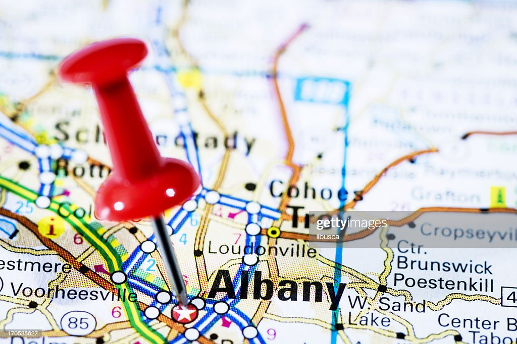 Us Capital Cities On Map Series Albany New York Ny Stock Photo - Us map with capital cities