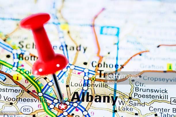 US capital cities on map series: Albany, New York, NY