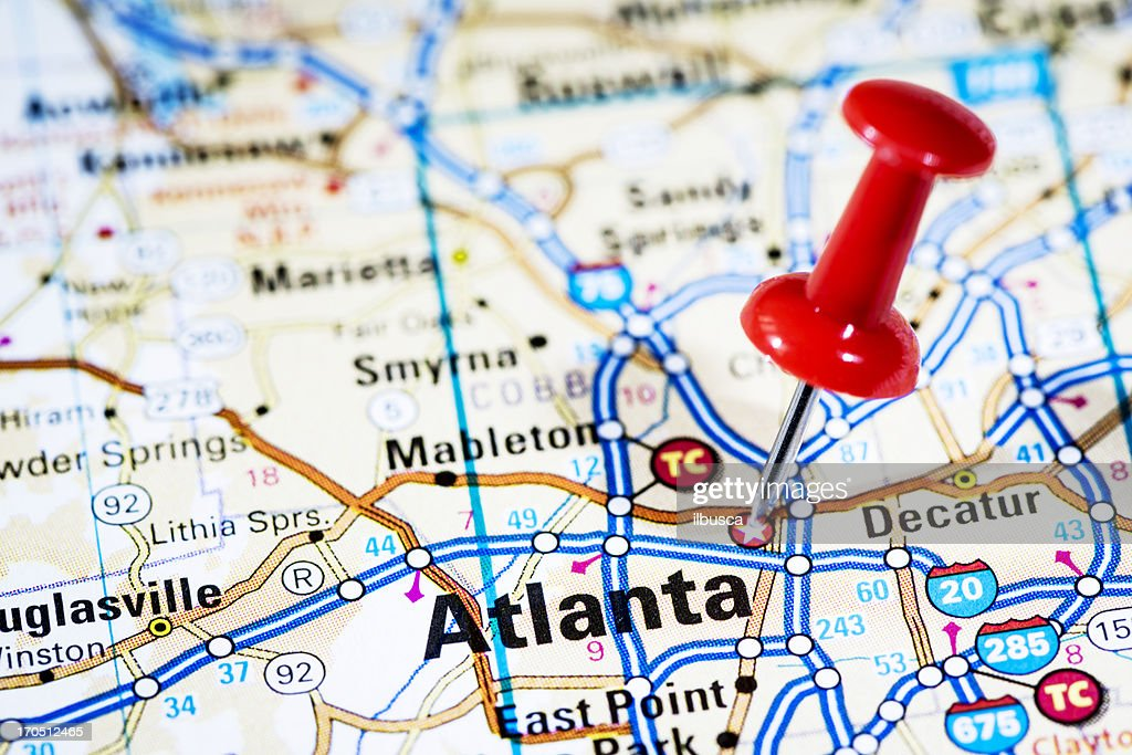 Us Capital Cities On Map Series Atlanta Georgia Ga Stock Photo - Capital cities on map of us