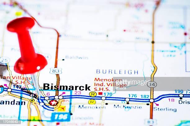 US capital cities on map series: Bismarck, North Dakota, ND