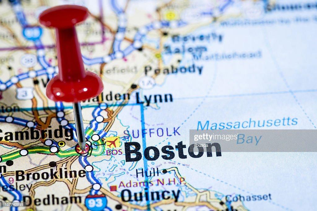 Us Capital Cities On Map Series Boston Massachusetts Ma Stock - Map of us boston