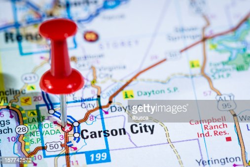 Us Capital Cities On Map Series Carson City Nevada Nv Stock Photo - Capital cities on map of us