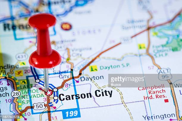 US capital cities on map series: Carson City, Nevada, NV