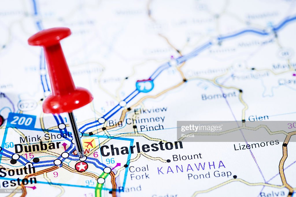Us Capital Cities On Map Series Charleston West Virginia Wv Stock - Capital cities on map of us