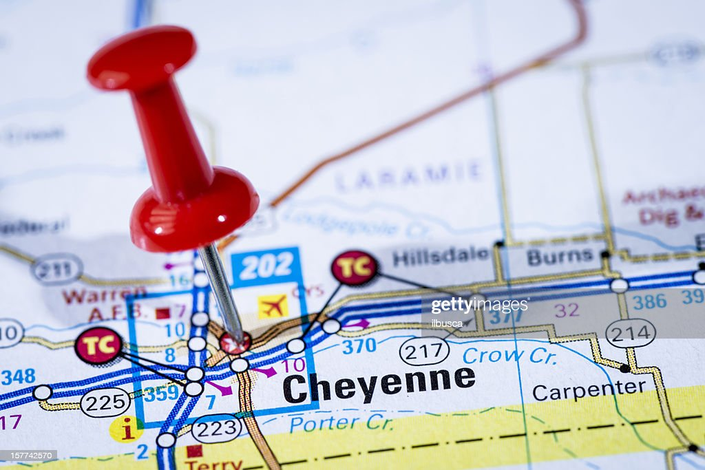 Us Capital Cities On Map Series Cheyenne Wyoming Wy Stock Photo - Cities in wyoming map