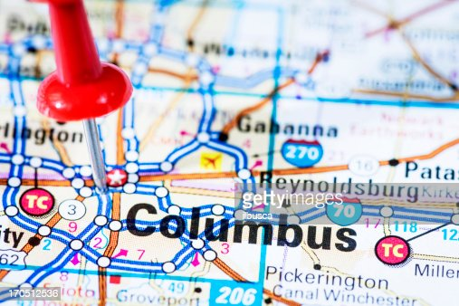 US capital cities on map series: Columbus, Ohio, OH