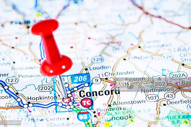 US capital cities on map series: Concord, New Hampshire, NH