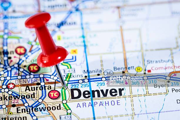 US capital cities on map series: Denver, Colorado, CO