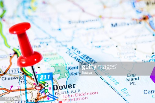 Us Capital Cities On Map Series Dover Delaware De Stock