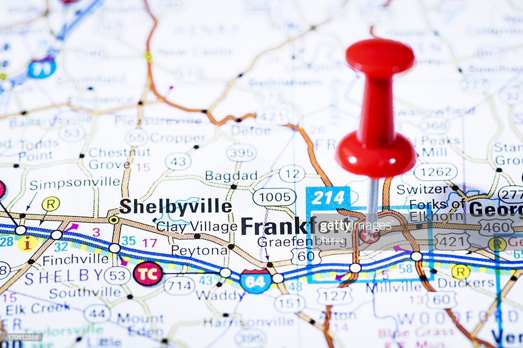 Us Capital Cities On Map Series Frankfort Kentucky Ky Stock Photo - Capital cities on map of us